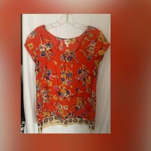 Anthropologie Red Orange floral Top• 12•very good